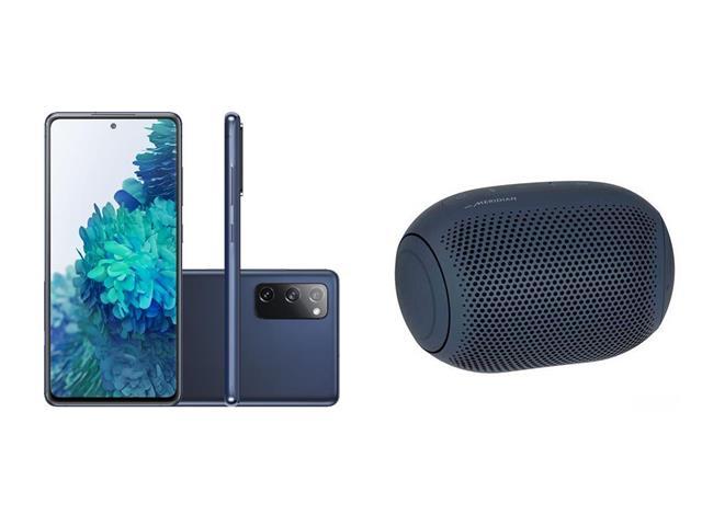 Kit Samsung Galaxy S20FE 256GB Azul e Caixa de Som LG Xboom Go PL2