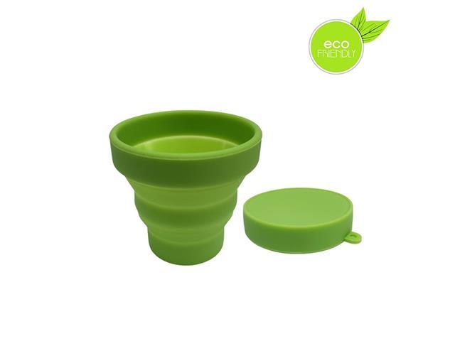 Copo Plástico Retrátil Yuze com Tampa 100ML Verde
