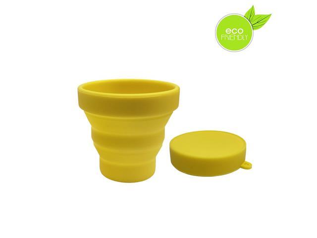 Copo Plástico Retrátil Yuze com Tampa 100ML Amarelo