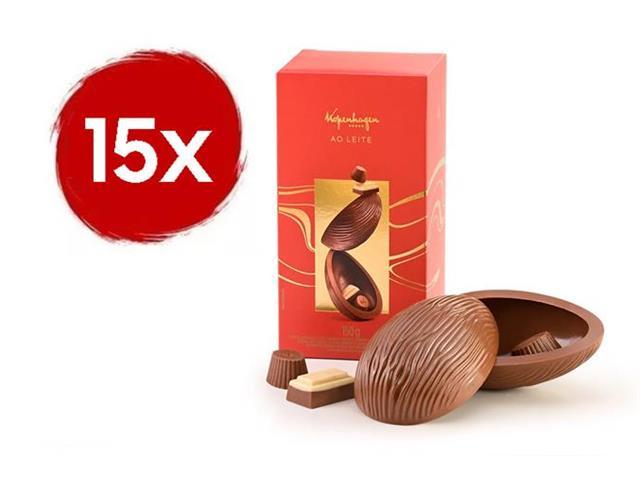 Combo 15 Ovos de Páscoa Kopenhagen Chocolate ao Leite 150G