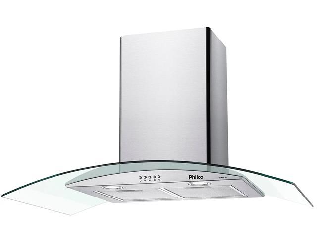 Coifa de Parede Philco Glass PCO90G Vidro Curvo Inox
