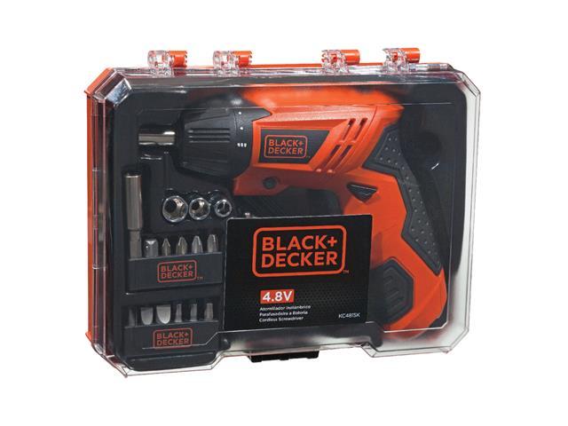 """Kit Parafusadeira a Bateria Black&Decker 1/4"""" com LED 15 Acessórios"""