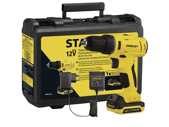 Parafusadeira Furadeira Stanley Bateria 12V e Maleta Bivolt