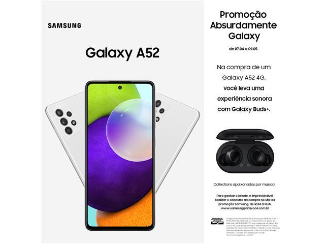 "Smartphone Samsung Galaxy A52 4G 128GB 6.5"" QuadCâm 64+12+5+5MP Branco"