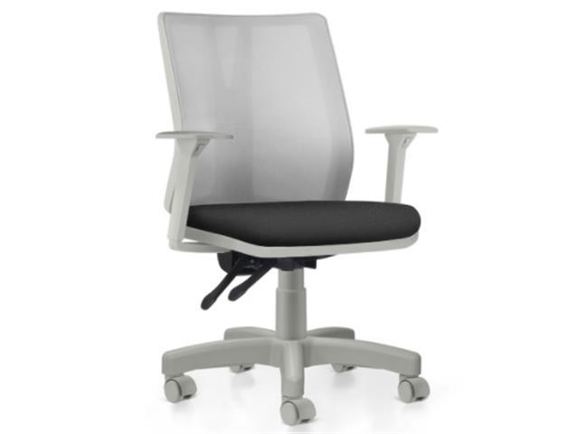 Cadeira Addit Operacional Cinza e Assento Preto Rodízio Carpete