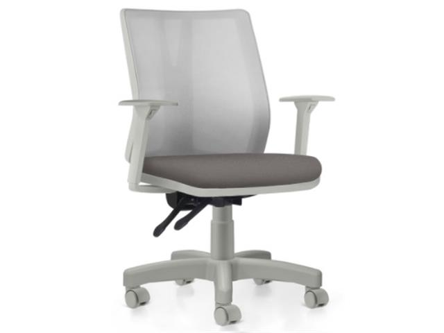 Cadeira Addit Operacional Cinza e Assento Cinza Rodízio Carpete