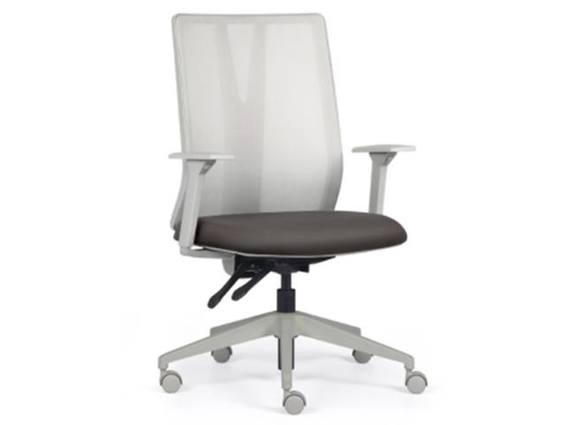 Cadeira Addit Alta Cinza e Assento Cinza Rodízio Carpete