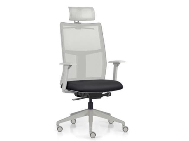Cadeira Time Presidente Cinza Assento Preto Rodízio Piso Duro