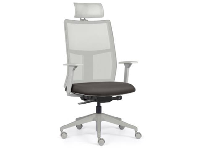 Cadeira Time Presidente Cinza Assento Cinza Rodízio Piso Duro