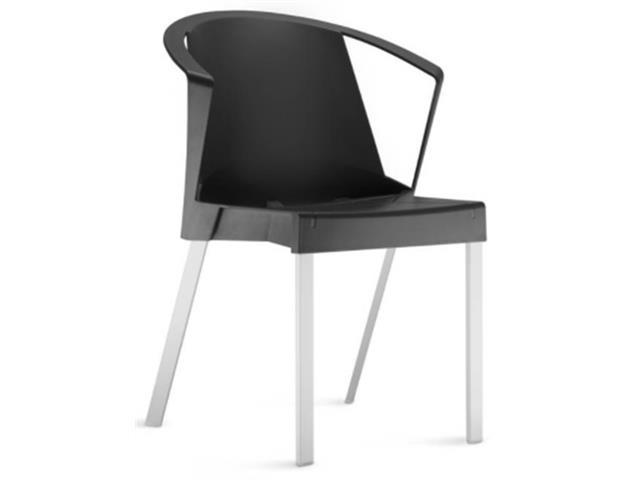 Cadeira Shine com Braços Preta e Estrutura Alumínio