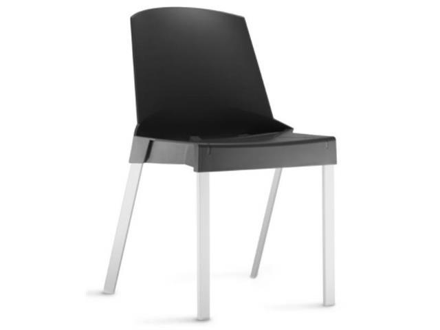 Cadeira Shine sem Braços Preta e Estrutura Alumínio