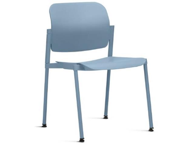 Cadeira Leaf Fixa Azul Sem Braços