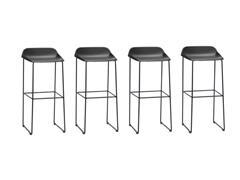 Conjunto Banqueta Bit Bar Assento Preto Estrutura Preta 4 Unidades