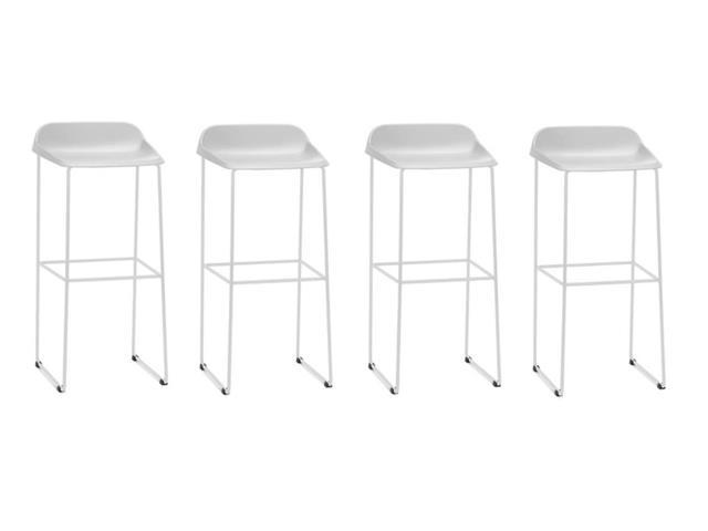 Conjunto Banqueta Bit Bar Assento Branco Estrutura Branca 4 Unidades