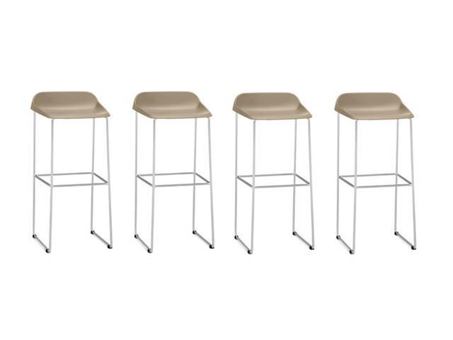 Conjunto Banqueta Bit Bar Assento Bege Estrutura Cromada 4 Unidades