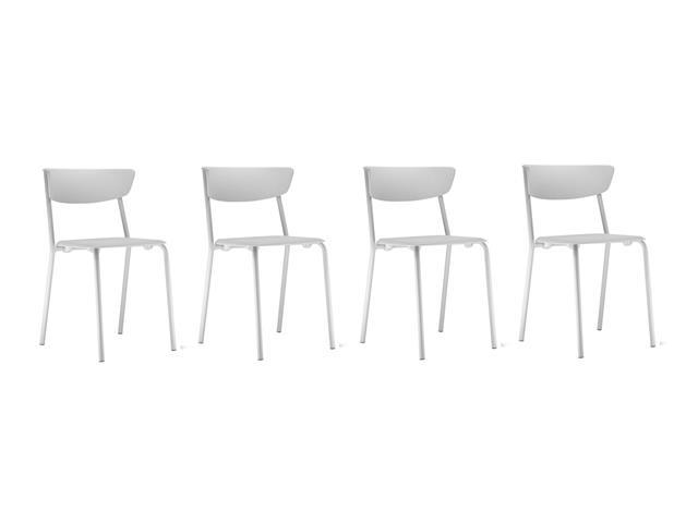 Conjunto Cadeira Bit Assento Encosto Branco EstruturaBranca 4 Unidades