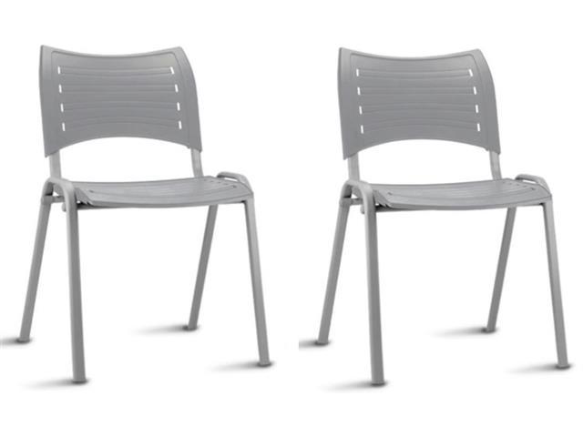 Conjunto Cadeira Iso Assento Encosto Cinza Estrutura Cinza 2 Unidades