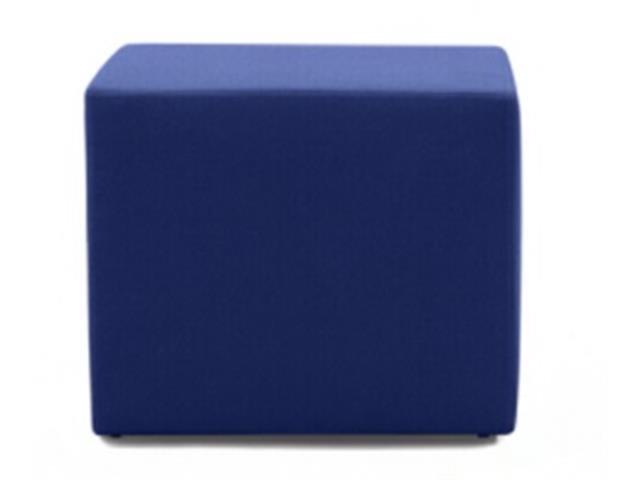 Puff Quadrado Revestido em Tecido Azul