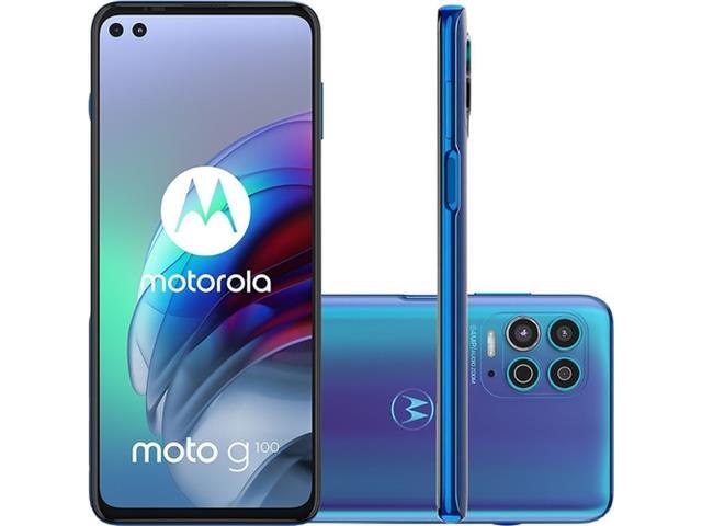 "Smartphone Motorola Moto G100 5G 256GB 6.7""Câm 64+16+2MP+ToF HDMI Azul"