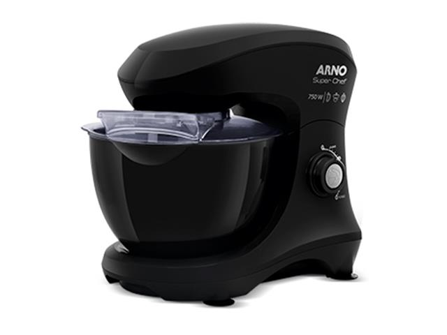 Batedeira Planetária Arno Super Chef 700W 5 Litros 15 Vel Preta 110V