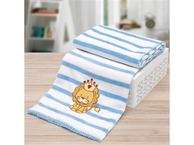Manta Infantil para Berço Buettner Microfibra Baby Lion King Azul