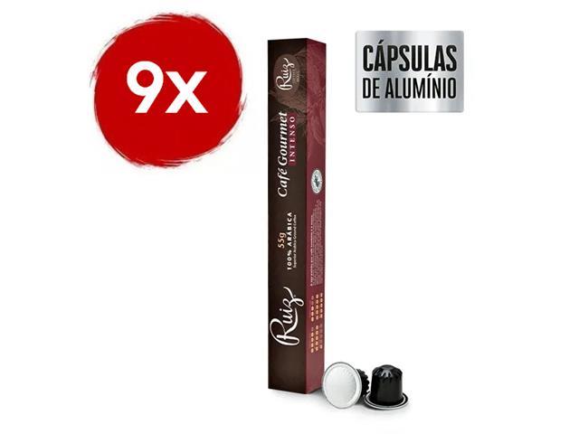 Kit Café Ruiz Gourmet Intenso com 9 caixas de 10 cápsulas 55g