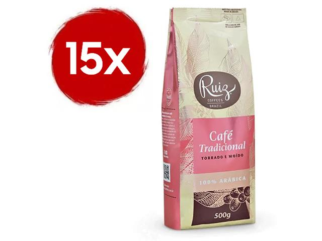 Kit Café Ruiz Clássico Torrado e Moído com 15 pacotes de 500g