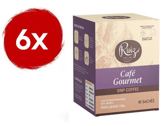 Kit Café Ruiz Gourmet Drip Coffee com 6 caixas de 10 Sachês 10g