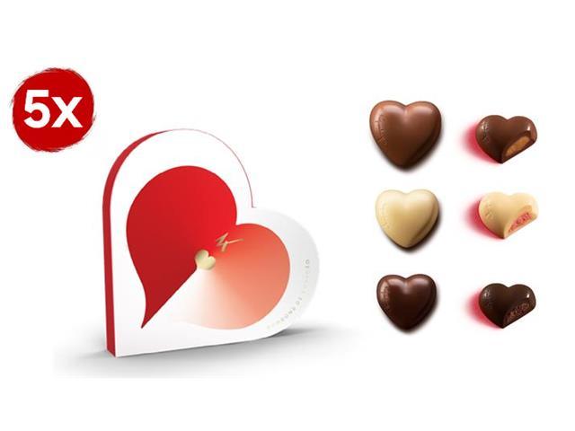 Combo com 5 Caixas de Corações Recheados Kopenhagen 12 Unidades