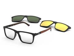 Óculos de Grau Clip-On Mormaii Swap 4 Preto Fosco com Madeira Escura