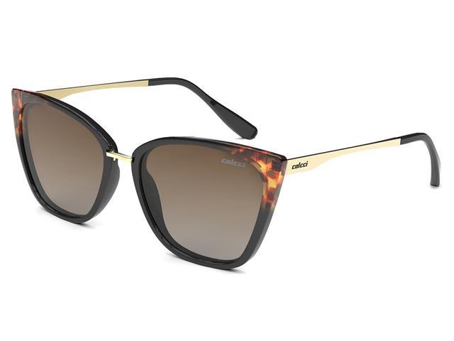 Óculos de Sol Colcci Aretha Preto Demi Brilho com Dourado