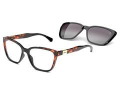 Óculos de Grau Colcci Bandy 3 Preto Brilho e Demi Marrom