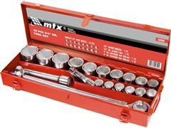 Jogo de Soquete MTX 3/4 Polegadas 19-50MM 20 Peças com Caixa de Metal