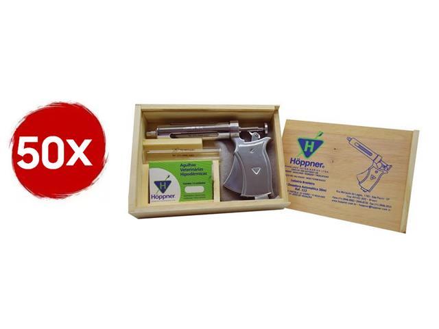 Combo 50 Seringas Automáticas de Vacinação Hoppner 50ml com Estojo