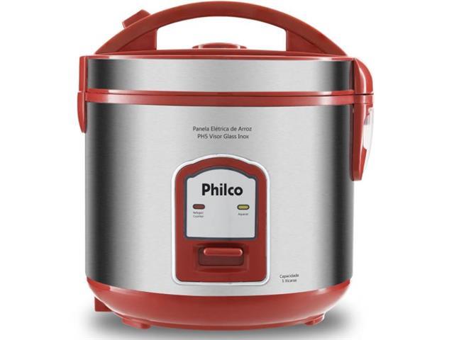 Panela de Arroz Philco PH5V Glass Inox 5 Xícaras Vermelha