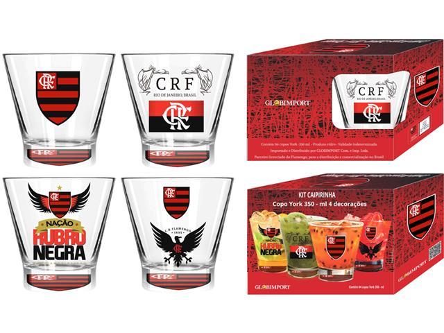 Kit Caipirinha Flamengo com 4 Copos York de 350ML Cada