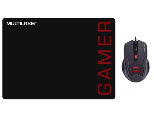 Combo Multilaser MO306 Mouse 3200DPI e Mousepad Gamer Vermelho