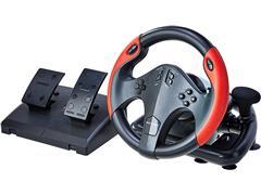 Volante Gamer Multilaser JS087 Multiplataforma Preto e Vermelho