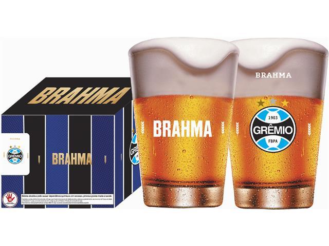Conjunto de 4 Copos Caldereta para Cerveja Brahma Grêmio 350ML