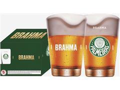 Conjunto de 4 Copos Caldereta para Cerveja Brahma Palmeiras 350ML