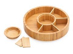 Petisqueira Giratória em Bambu 7 Divisões