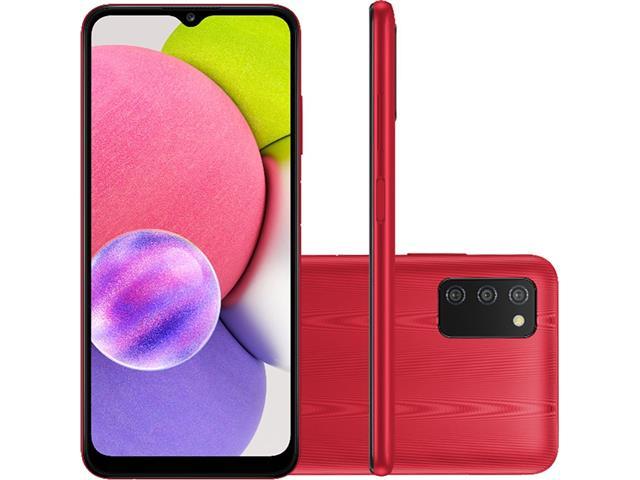 """Smartphone Samsung Galaxy A03s 64GB 6.5"""" Câm Tripla 13+2+2MP Vermelho"""