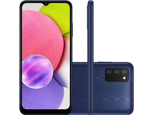 "Smartphone Samsung Galaxy A03s 64GB Tela 6.5""Câm Tripla 13+2+2MP Azul"