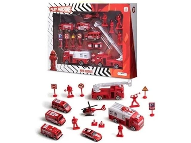 Brinquedo Multikids BR970 Play Machine Play Set Bombeiro Mini Resgate