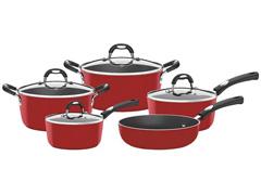 Conjunto de Panelas Tramontina Alumínio Mônaco Vermelho 5 Peças