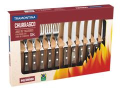 Jogo de Talheres para Churrasco Tramontina Polywood Inox 12 peças - 1
