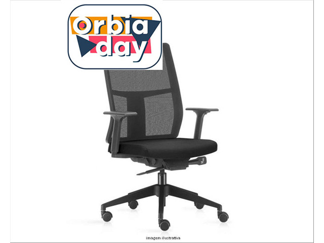 Cadeira Time Presidente Assento Preto Rodízio Piso Duro
