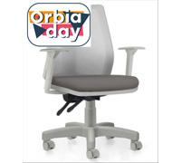 Cadeira Addit Operacional Cinza e Assento Cinza Rodízio Piso Duro