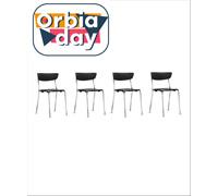 Conjunto Cadeira Bit Assento EncostoPreto Estrutura Cromada 4 Unidades
