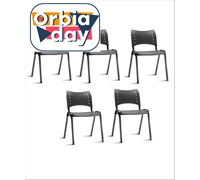 Conjunto Cadeira Iso Assento Encosto Preto Estrutura Preta 5 Unidades